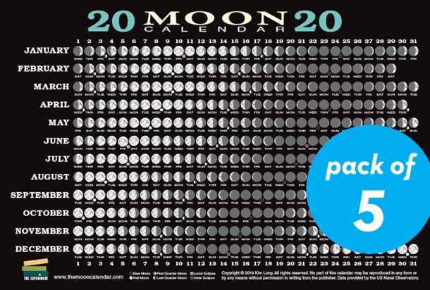 2020 Moon Calendar Card 5 pack