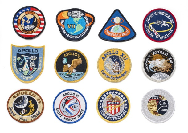 Apollo Mission Patch Emblems - Set of 12
