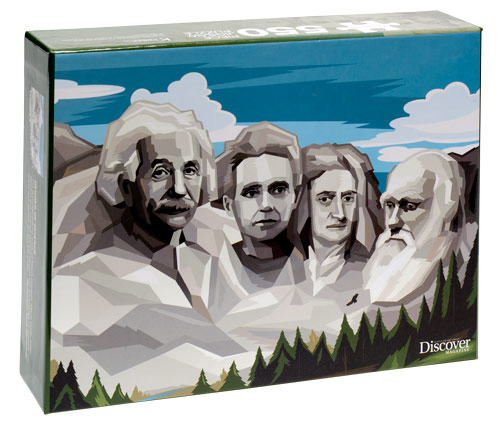 Puzzle created by Discover, honoring four greats of science.