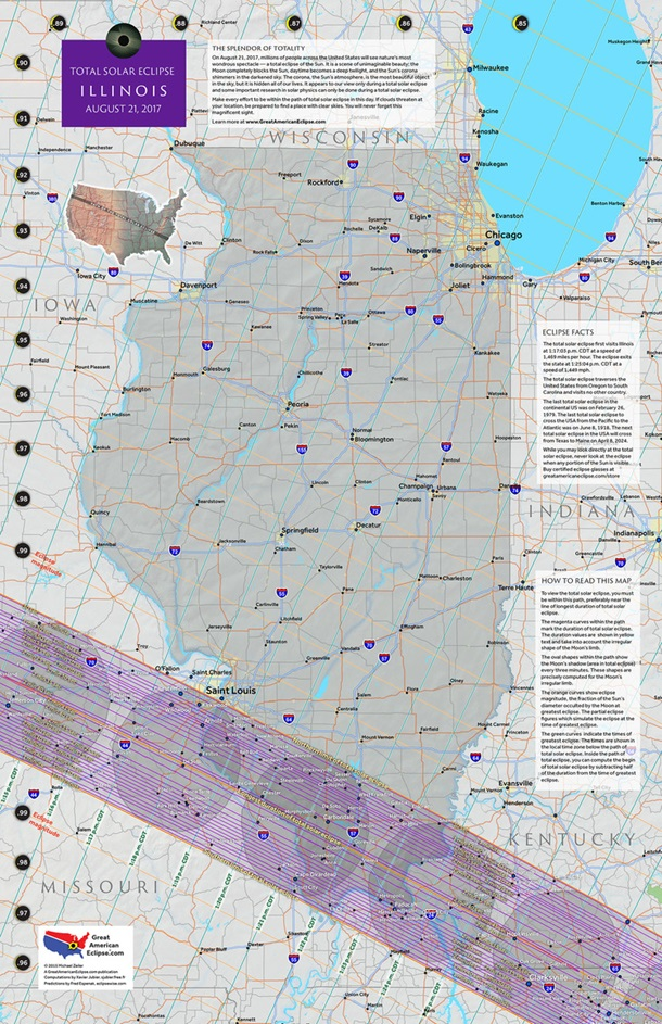 Illinois 2017 Eclipse State Map