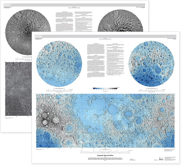Image Mosaic & Topographic Moon Map Package