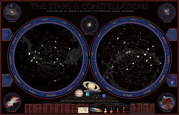 Wonders of the Constellations Space Chart Poster