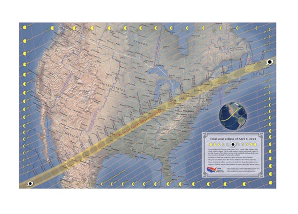 April 2024 Total Solar Eclipse Map 22x34