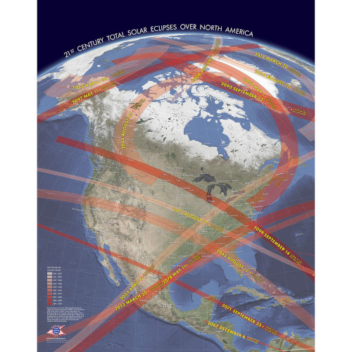 21st Century Total Solar Eclipses Over North America Poster 22x28
