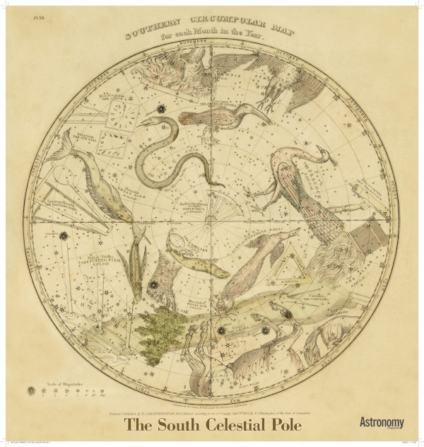 Antique Star Chart - The South Celestial Pole