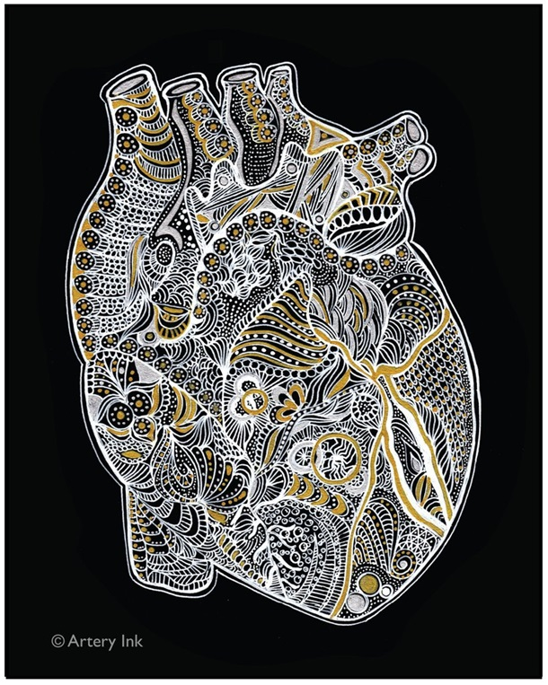 Metallic Heart Print