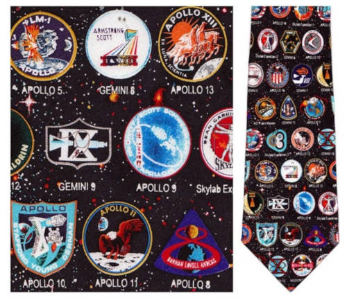 Early Space Mission Badges NASA Necktie