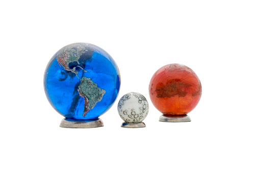 Earth, Mars, and Moon to Scale Marble Kit