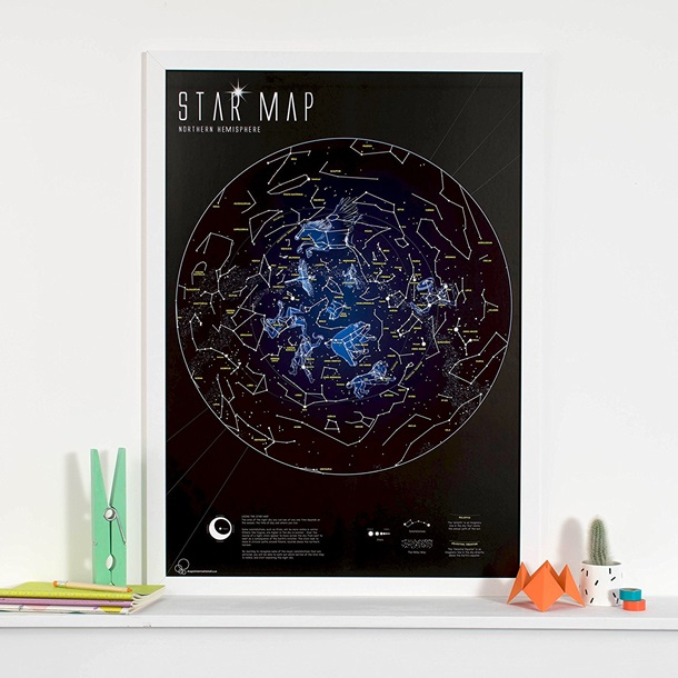Glow in the Dark Star Map Poster